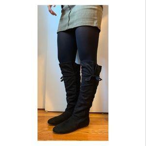 Aldo black suede knee high boots size 37